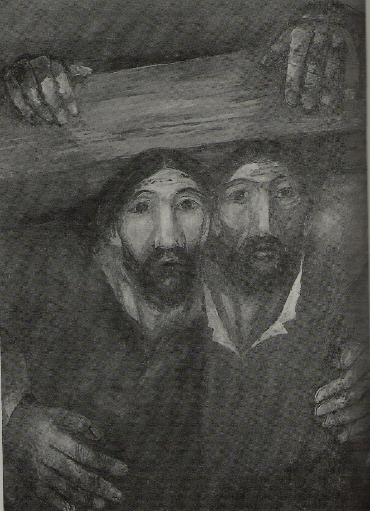 Symon of Cyrene and Jesus carry the cross